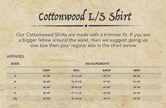 Cottonwood shirt size chart