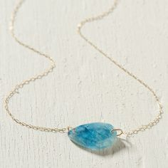 Aquamarine Droplet Necklace in Spa+Accessories JEWELRY Necklaces at Terrain