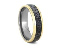 Deer Antler Wedding Band, 14k Yellow Gold Ring With Titanium Sleeve, Ring For Hunters