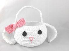 Amigurumi Bunny Pencil Holder : Easter bunny basket crochet easter basket bunny by prochetbyeas