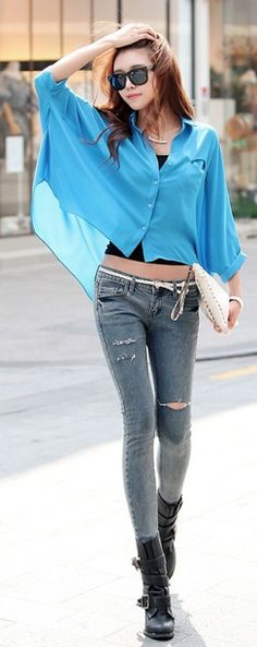 #Street Style# Korean fashion # blue oversize blouse with skinnies and boots GG's tiny times ♥