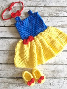 Snow White Costume, Crochet Baby Snow White Dress, Princess Snow White Outfit, Newborn Photo Prop, Baby Crochet Snow White Costume by ValuableCr8tions on Etsy
