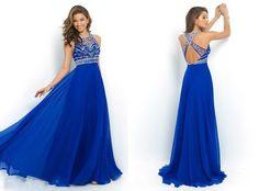 Ulass Elegant Royal Blue Chiffon A-Line Prom Dress 2015 Halter Bandage Backless Sparkly Beading Long Prom Dress New