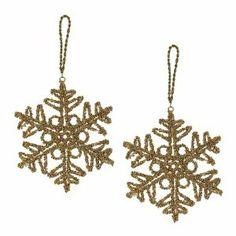 Set de 4 flocons de neige en perles dorées - Décorations à suspendre pour noël - Fait main en Inde