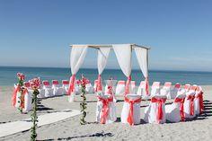 bamboo trellis coral Beach Wedding