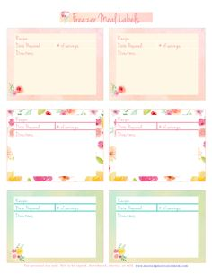 Use the Freezer Meal Labels Printable to record: Recipe Name, Date Prepared, Number of Servings and Directions. The PDF is available in two colors! I also share a resource to help you stock your freezer! 10 meals in just one hour!