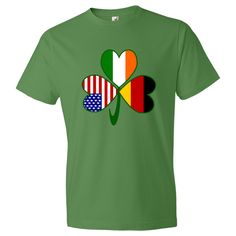 Celebrate you Irish, German and American heritages all at once with this shamrock. It shows a different flag in each leaf: Germany, Ireland and the United States of America. Fun on St. Patrick's Day, 4th of July and German holidays! $27.99 ink.flagnation.com