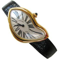 View this item and discover similar for sale at - Cartier 1991 Crash Watch. A men's Yellow gold asymmetric wristwatch No. Produced originally by Cartier in this surrealist style watch Cartier Jewelry, Jewelry Watches, Fashion Gone Rouge, Cartier Tank, Elegant Watches, Modern Watches, Beautiful Watches, Jewelry Stand, Mode Outfits
