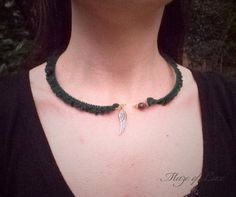 Dark green crochet open choker with semi precious beads, swarovski crystals and wing charm