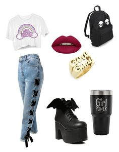 """""""Girl friendship is the most powerful weapon"""" by elenaanais on Polyvore featuring Melody Ehsani, Sans Souci, Current Mood and Huda Beauty"""