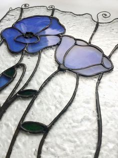 Blue poppy flowers, stained glass panel. Custom size and colours. #artkvarta, #stainedglass, stainglass, #poppy, #blue, #window, #handmade, #bohemian, #flower, #floral,#home, #decor, #ornament, #giftidea, #nature