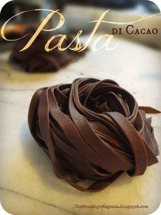 Chocolate Pasta  ~ Pasta di Cacao!!!  Recipe available on my Italian American food & lifestyle blog, The Brooklyn Ragazza --> http://thebrooklynragazza.blogspot.com/2012/11/chocolate-pasta-pasta-di-cacao.html#more  #Pasta #Chocolate #Italian #Italy