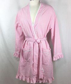 Eileen West Short Seersucker Wrap Robe Pink White Gingham Check Sz  Small Medium  EileenWest 16ffab11e