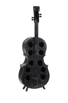 Black cello shaped wine rack