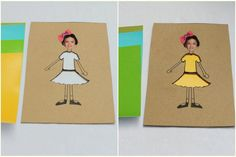 This craft is a spin on the classic craft of paper doll making. The twist is that the inside of the clothing on the paper doll is cut out so that you can change the doll's outfits by slipping different-colored or patterned artwork behind the cutout.