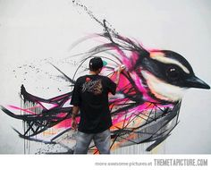 Funny pictures about Awesome Spray Can Graffiti. Oh, and cool pics about Awesome Spray Can Graffiti. Also, Awesome Spray Can Graffiti. Art And Illustration, Bird Street Art, Street Art Graffiti, Art Amour, Beautiful Graffiti, Urbane Kunst, Art Du Monde, Graffiti Artwork, Painting Art