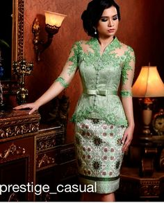 Green casual kebaya Kebaya Lace, Kebaya Dress, Batik Kebaya, Batik Dress, Lace Dress, Myanmar Traditional Dress, Traditional Dresses, African Fashion Dresses, African Dress