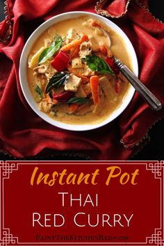 This Instant Pot Thai Red Curry with Chicken is delightful! Instant Pot Thai Red Curry with Chicken! Thai Recipes, Asian Recipes, Cooking Recipes, Healthy Recipes, Cooking Blogs, Thai Cooking, Cooking Lamb, Couple Cooking, Cooking Quotes