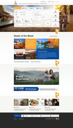 Landing page mock ups for Singapore Airlines Website