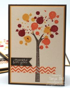 This autumn inspired tree is made using the branch from the 'Take Care' stamp set and then the ink blotch from Gorgeous Grunge.