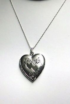 """Beautiful Large Etched Hearts 925 Locket Neckace Sterling Silver 19"""""""
