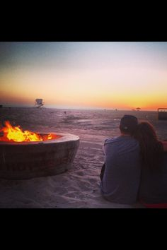 Sunset and Bonfire at Huntington Beach, California