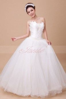 Strapless Ball Gown Satin and Organza Wedding Dress JSWD0049
