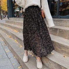 Skirts for ladies Women Long Floral Pleated Skirt with Liner Winter Spring Printed Boho High Waist Skirt Korean Fashion Skirts 2019 Black Women Skirts - - Modern Hijab Fashion, Muslim Fashion, Korean Fashion, Cheap Skirts, Skirts For Sale, Fashion Skirts, Fashion Outfits, Women's Fashion, Waist Skirt