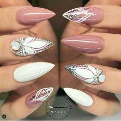 Rose and white stiletto nails
