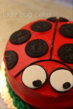 DIY Lady Bug Cake - First, order a red frosting cake, with green frosting grass from your local baker. I got mine at Lucky, only $12.95!  Next, use Oreo cookie's and shoe lace licorice for the design.  That's it!  The kids and parents loved it.