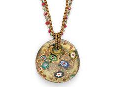 "Cookie Lee Bronze Millefiori Pendant   $30  Genuine crystal and hand-blown glass.   16–21"" adjustable."