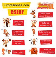 """¿Qué os parece si seguimos aprendiendo algunas expresiones en #español? Esta vez con el verbo """"estar"""". ¿Se os ocurre alguna expresión más? #Learnspanish #studyspanish"""