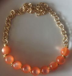 collana pietre e catene orange