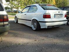 Alpine white BMW e36 compact slammed on OEM BMW Styling 5 (BBS RC) wheels
