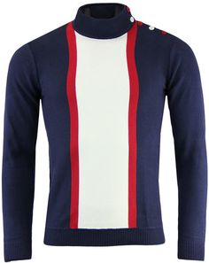 Madcap England Columbia Mens Mod Mock Turtleneck Jumper in Navy. Buy Retro Knitwear from Madcap England. Men Sweater, Retro Outfits, Vintage Outfits, Vintage Clothing, Mod Fashion, Striped Cardigan, Dress To Impress, Turtle Neck, Style