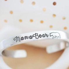 Calling all #mamabear mamas! Fresh to the shop, a super cute #mamabear cuff bracelet. Link is in bio! ❤️.....#cuffbracelet #cuff #handstamped #handstampedjewelry #etsy #handmade #hersilverlining    #Regram via @hersilverlining