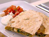Light & Easy Chicken-Mushroom Quesadillas Recipe (GP: reduce/skip onions, use white flour tortillas, but this is a good option for those who can have mushrooms & spinach)