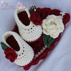 crochet hat and slippers - how cute for Christmas!