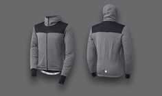 the light grey version of the attakai wool jacket by pedaled 2016 Bike Wear, Wool Blend, Hoodies, Grey, Sweaters, Jackets, How To Wear, Ideas, Style
