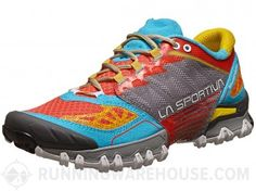 La Sportiva Bushido  - European-fit shoes for moderate overpronation and muddy trails, in a hot colorway. Very similar to Salomon XT Wings, but with normal lacing... and basically  no cushioning in the sole. They're great on mud, but stone or pavement rapidly becomes painful.