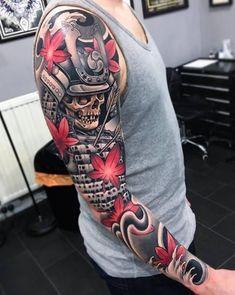 Over 100 amazing samurai tattoo ideas Japanese Mask Tattoo, Japanese Dragon Tattoos, Japanese Tattoo Designs, Japanese Sleeve Tattoos, Full Sleeve Tattoos, Tattoo Sleeve Designs, Arm Tattoo, Tattoo Geek, Cover Tattoo