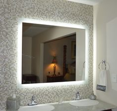 Bathroom: Excellent Led Wall Mounted Lighted Bathroom Mirror With Touch Button And Sink Steel Faucet For Your Modern Bathroom Apartment from Lighted Bathroom Mirror for Your Bathroom Best Performance