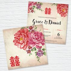 Double Happiness with Chinese Peony Wedding Invitation Card (Rustic)