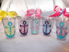 Monogrammed anchor tumbler  16 ounce cups by ThePoshDiva on Etsy, $9.00