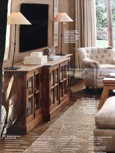 restoration hardware french casement media console like the tv lamps and tall artwork also
