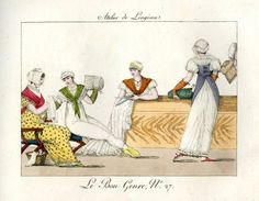 1802-12   Four ladies working on soft fabrics.   Hand-coloured etching.  Plate 27.       britishmuseum.org