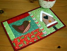 Winter Birdhouse Mug Rug pattern $1.99 on Craftsy at http://www.craftsy.com/pattern/quilting/home-decor/winter-birdhouse-mug-rug/36849
