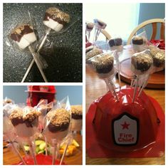 OR a fireman helmet as a cake pop holder. S'mores pops for a firefighter/fireman/firetruck themed baby shower Baby Shower Decorations Neutral, Gender Neutral Baby Shower, Baby Shower Themes, Shower Ideas, Baby Shower Cake Pops, Baby Boy Shower, Firefighter Baby Showers, Little Man Cakes, Cake Pop Holder
