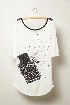 "Typewriter ""Bonjour Cheri"" T-shirt, Daydreamer Tee from Anthropologie"