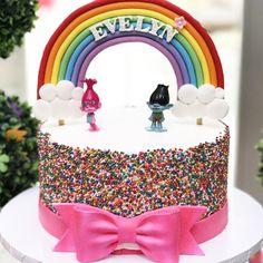Trolls themed cake with fondant rainbow! #trolls #trollscake #trollsbirthdayparty